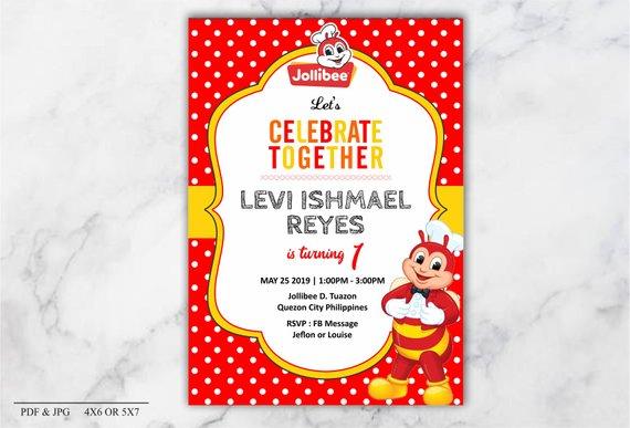 Jollibee Birthday Invitation Party Birthday Invitations