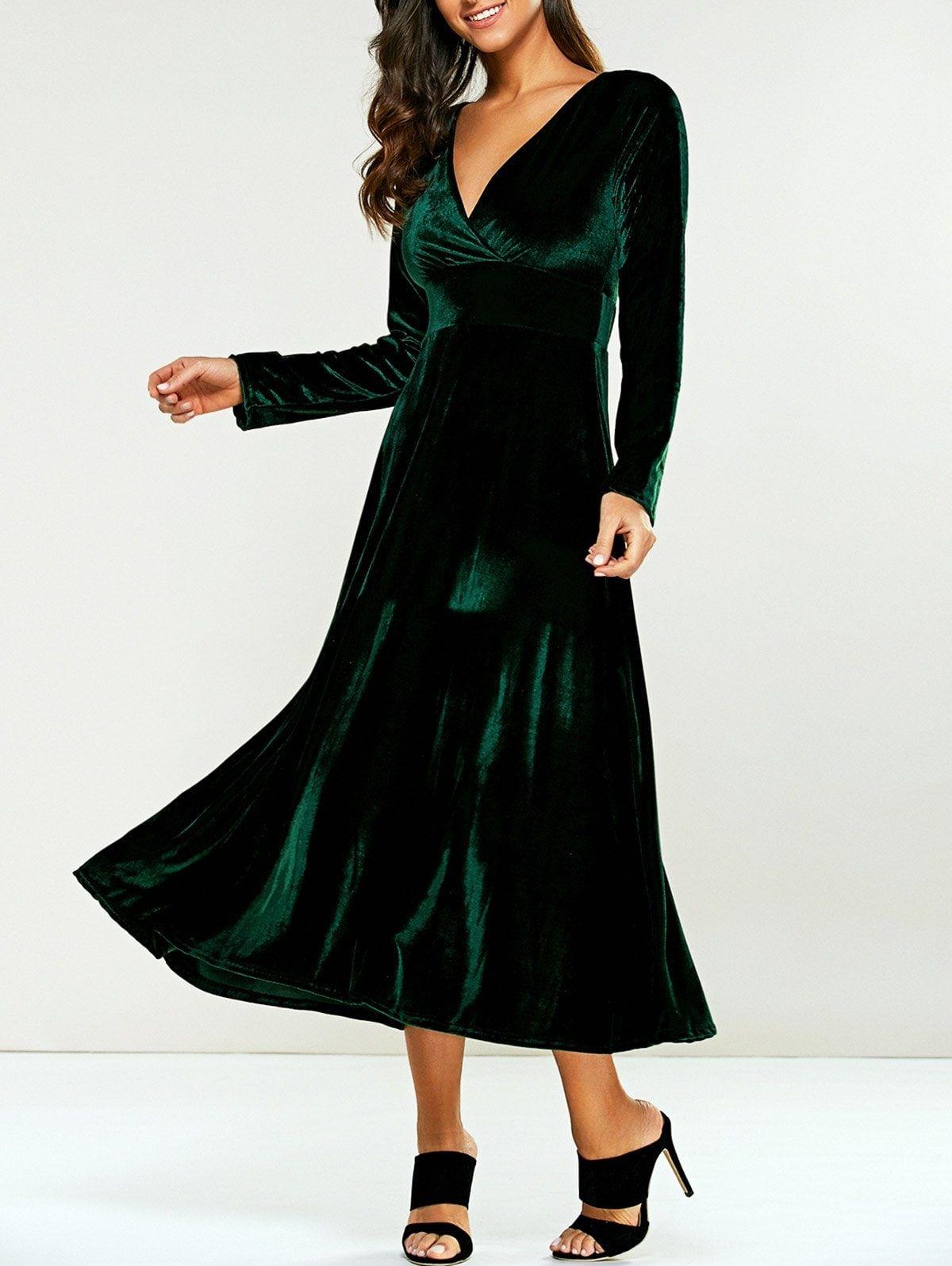 Surplice velvet tea length long sleeve dress apple shape dresses