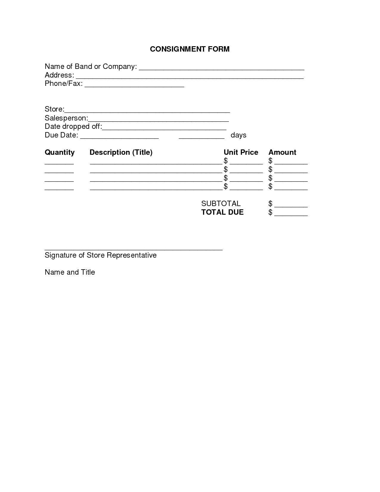 Consignment Form By Brittanygibbons  Consignment Forms  Real