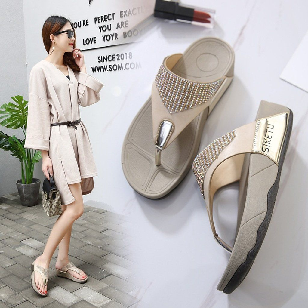 91ff4bfdb Fashion 2018 Summer New Sandals Womens Shoes National Bohemian Wedge Sandals  Plus Size Flip Flops Beach