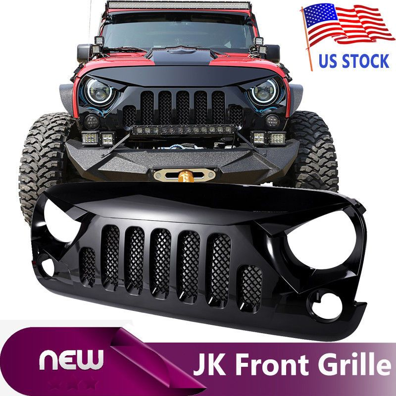 Angry Skull 2 Gloss Black Front Mesh Grill Grille For 07 17 16