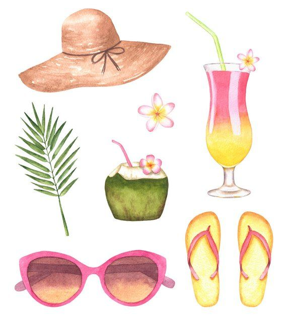 Watercolor beach. Clipart summer pool