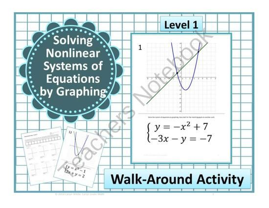 Walk Around Activity~Solving Nonlinear Systems of Equations~Linear ...