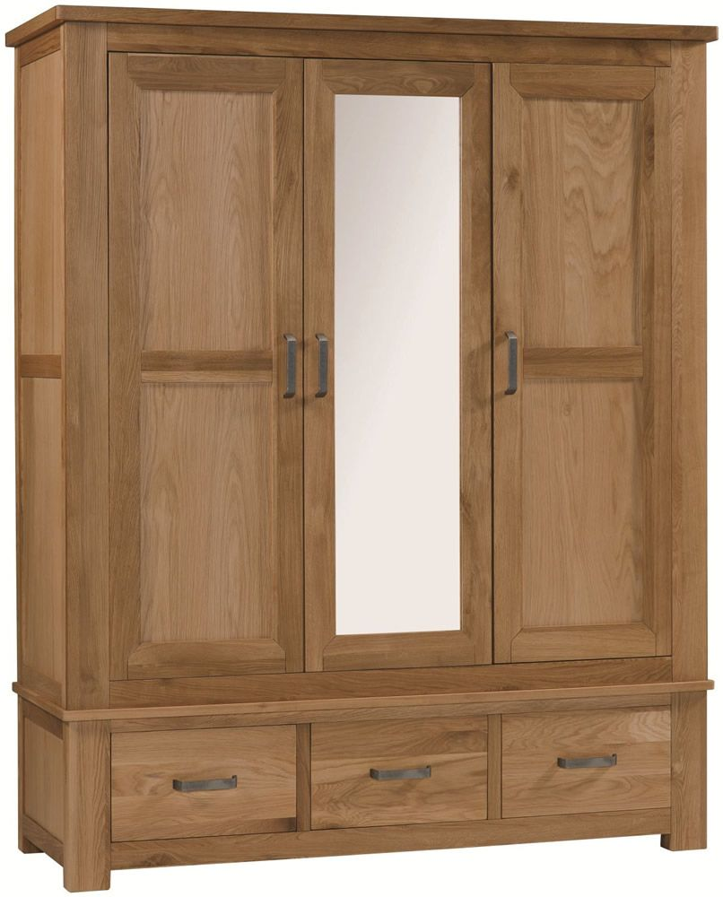 Oak Triple Wardrobe with mirror and drawers. http://www.furniturestyleonline.co.uk/Turin-Oak-3-Door-3-Drawer-Wardrobe.html