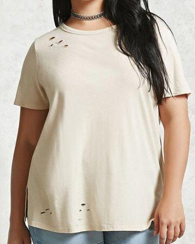 2535660941dcf Plain beige ripped t shirt with holes plus size for fat women ...