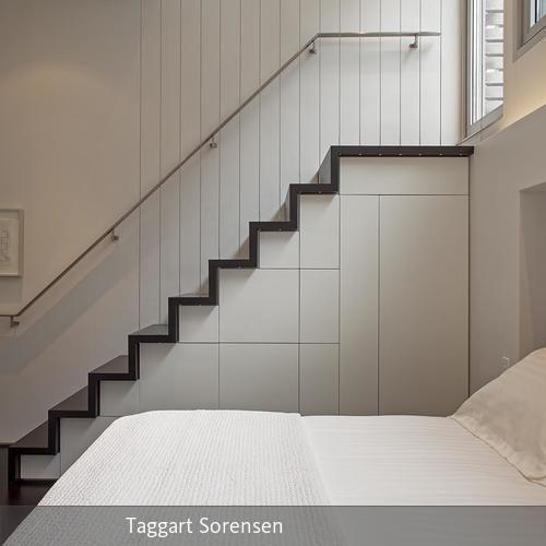 Treppe mit integrierten Aufbewahrungsmöglichkeiten - unter der treppe wohnideen
