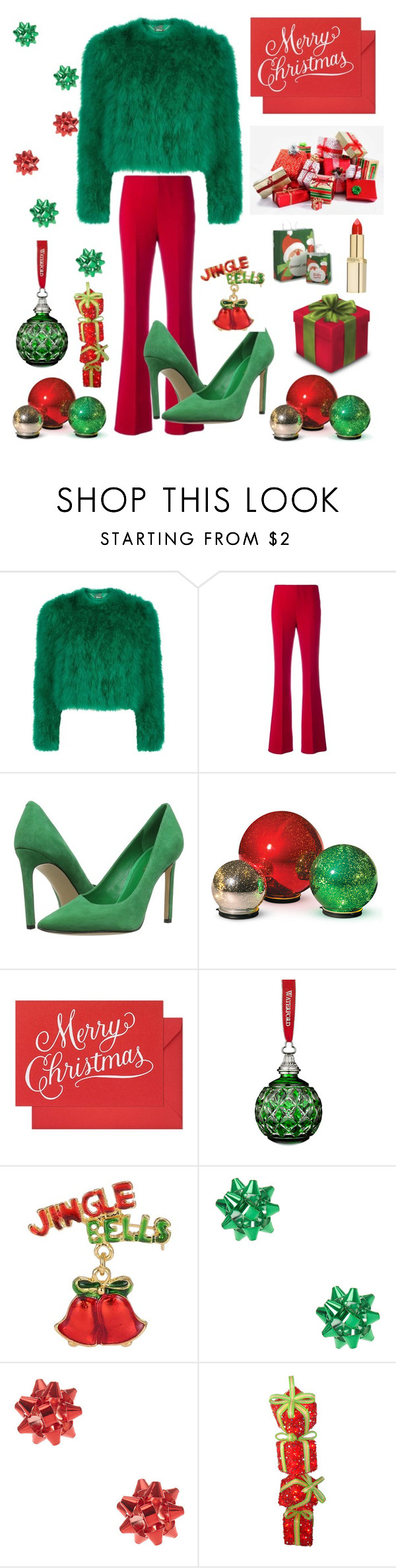 """""""Merry Christmas to all my polyvore friends! xoxo ♡♡♡"""" by kotnourka ❤ liked on Polyvore featuring Alexander McQueen, Theory, Nine West, Improvements, Sugar Paper, Waterford, claire's and L'Oréal Paris"""