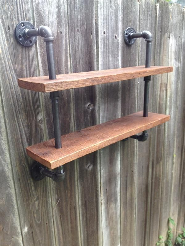 reclaimed pallet and iron pipe double shelf furniture m