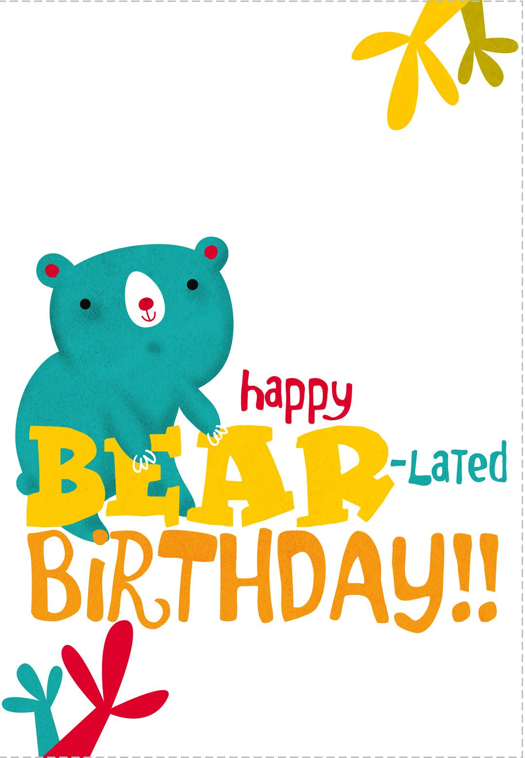 Free Printable Bear Lated Birthday Greeting Card Happy