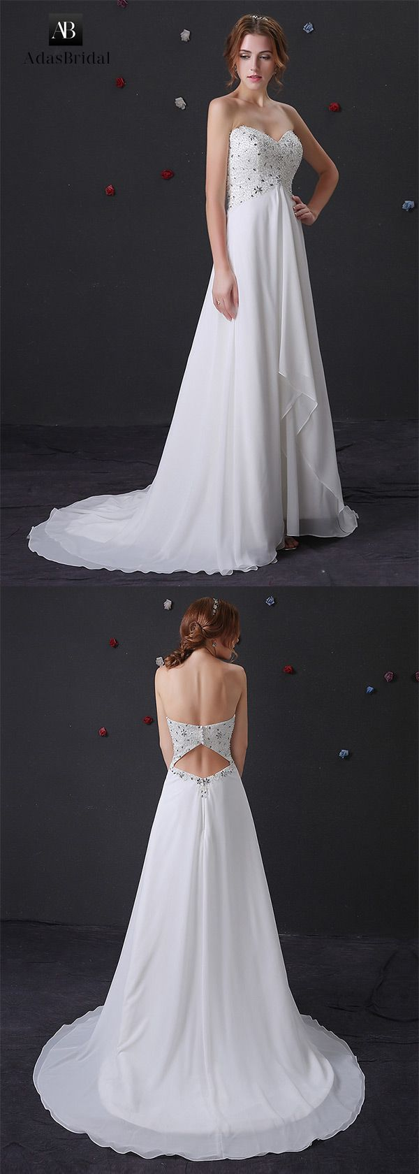 Charming chiffon sweetheart neckline empire wedding dress