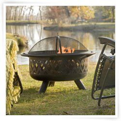 Red Ember Rubbed Bronze Crossweave 36 inch Wood Burning Fire Pit-With Free Grill Grate and Cover