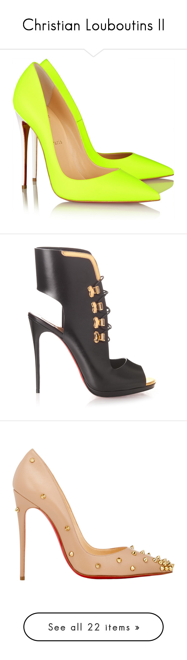 """""""Christian Louboutins II"""" by melanijames ❤ liked on Polyvore featuring shoes, pumps, heels, christian louboutin, sapatos, pointy-toe pumps, neon heels pumps, pointed toe high heel pumps, slip on shoes and leather shoes"""