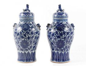 Pair Of Chinese Blue & White Covered Vases