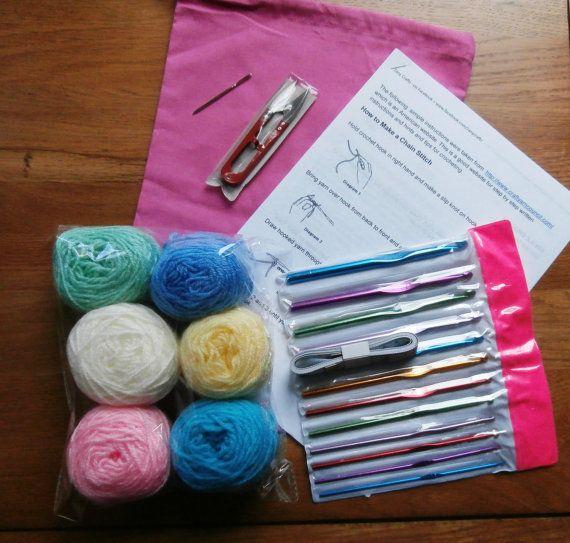 Crochet Beginners Crochet Kit Bag Personalised Option Wool Snips