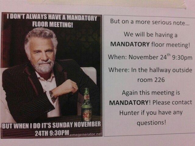 Mandatory Floor Meeting Flyer Ra Ideas Outside Room Flyer