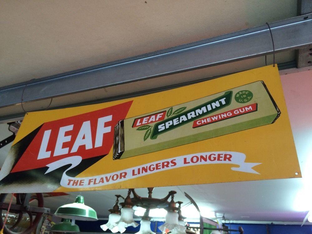 Vintage Leaf Spearmint Chewing Gum Sign