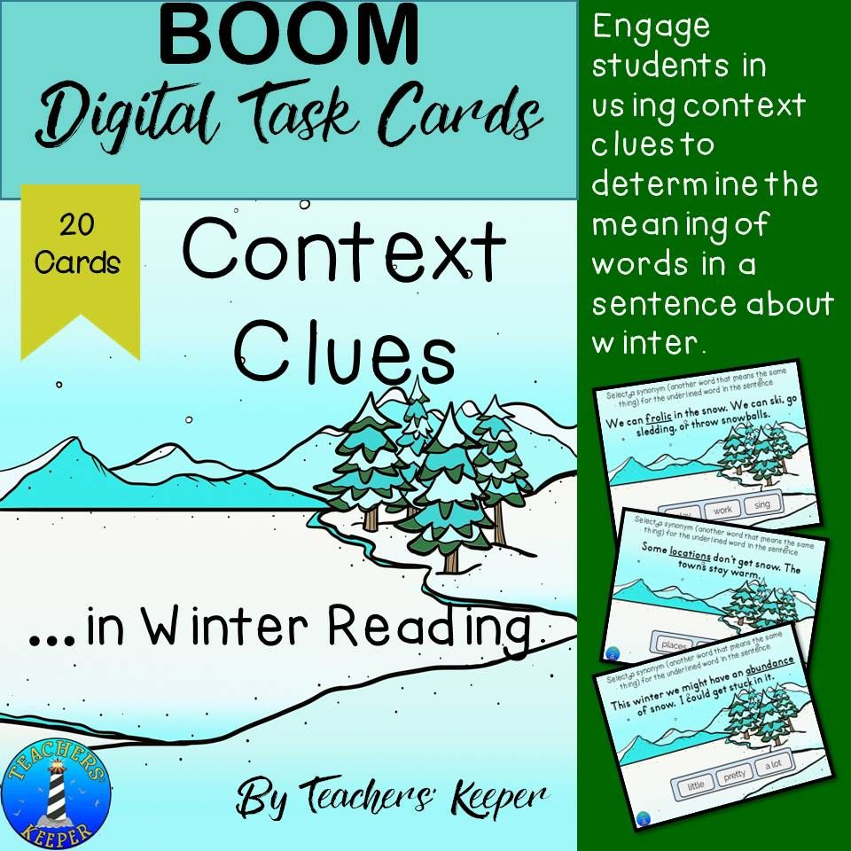 Digital task cards to help students use context clues to determine ...