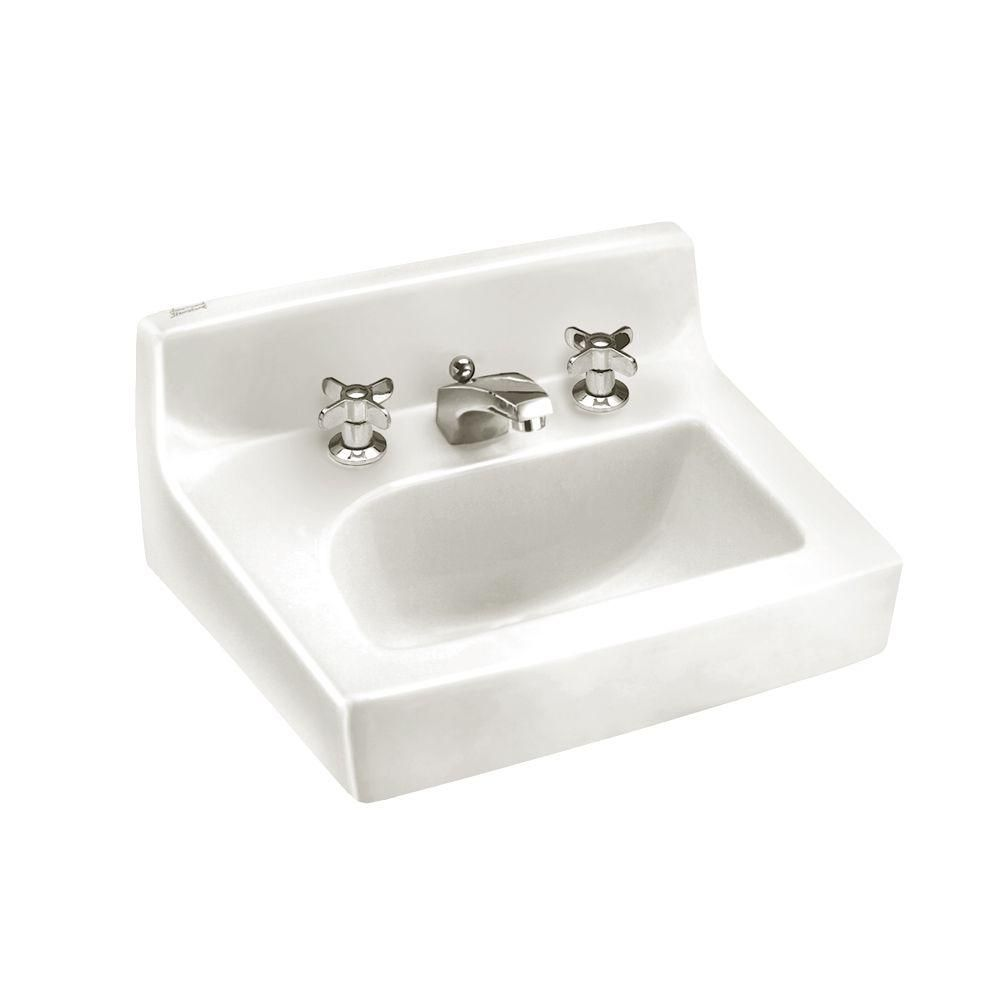 Penlyn Wall Mount Bathroom Sink In White Products Wall Mounted Bathroom Sinks Wall Mounted Sink Pedestal Sink Bathroom