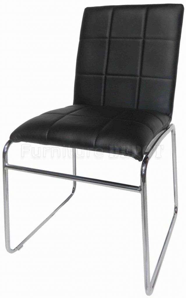 Dining Chair Black Bicast Upholstery With Chrome Legs Set Of 4