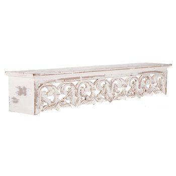 Distressed White Carved Wood Shelf