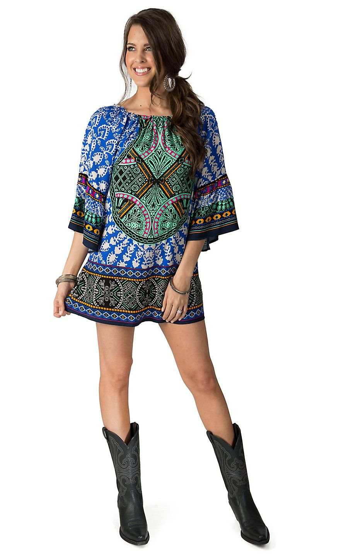 0c540948a9b Flying Tomato Women's Blue Multi Print 3/4 Sleeve Dress | Cavender's ...
