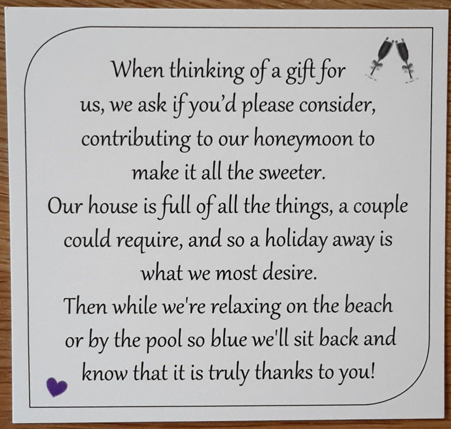 Money Request Poems - Square Honeymoon - For Wedding Invitations ...