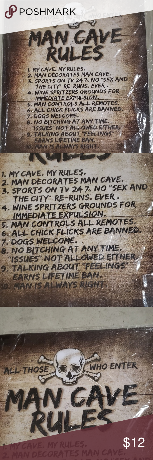NEW MAN CAVE RULES TIN SIGN Great sign for your man cave