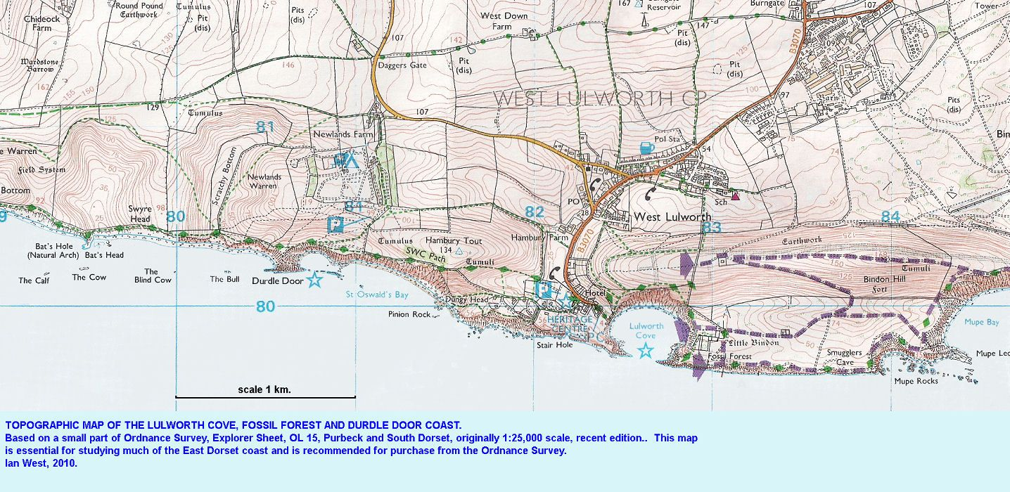 Lulworth Cove Map Topographic map of the Lulworth Cove, Durdle Door and Fossil  Lulworth Cove Map