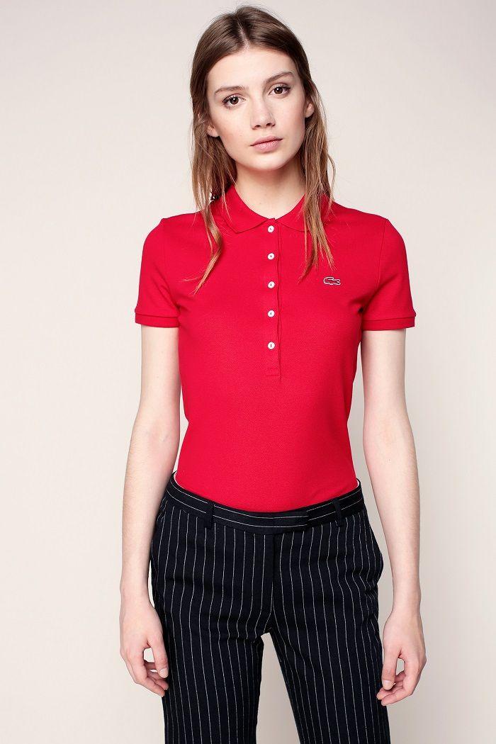 Lacoste Polo rouge logo brodé - Polo Femme Monshowroom - Ventes-pas-cher.com