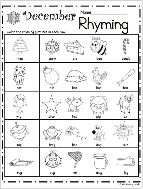 Free Kindergarten Rhyming Worksheets For December Madebyteachers Rhyming Worksheet Rhyming Kindergarten Rhyming Activities
