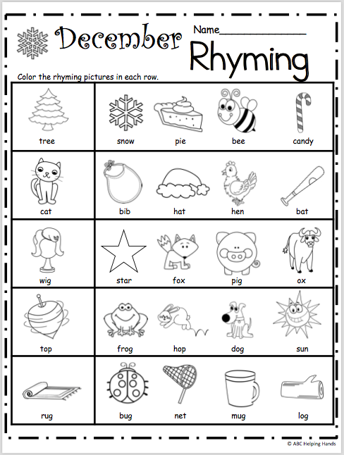 Free Kindergarten Rhyming Worksheets for December ...
