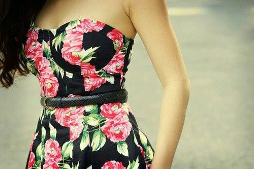 Pink rose-floral black strapless dress