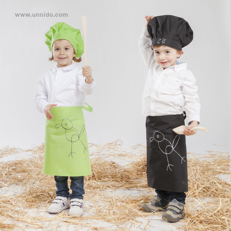 """Delantal y gorro de  cocina  infantil """"Pájaro"""". Un  regalo especial ... 356bc5bde5c"""