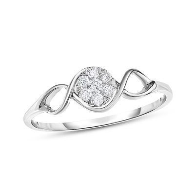Zales 1/10 CT. T.w. Composite Diamond Twist Shank Promise Ring in 10K Rose Gold Q9i2dNCdJA