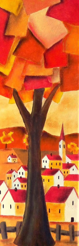 Tableau paysage - peinture paysage coloré