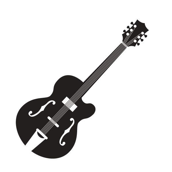 Vintage Guitar Silhouette Client Self Guitar Illustration Silhouette Illustration Diy Prints