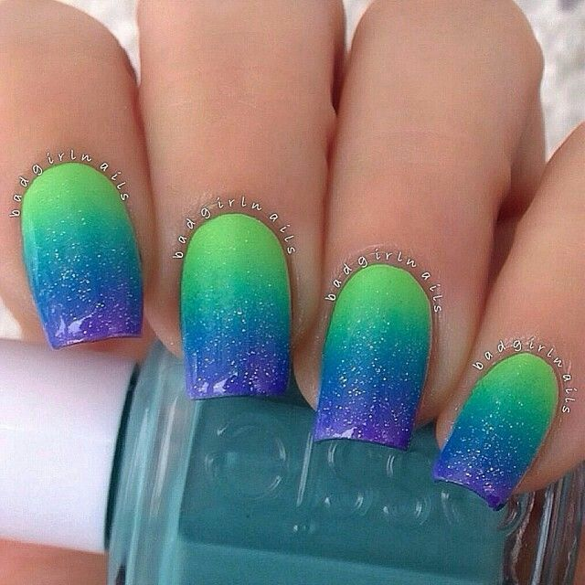 Blue And Green Ombre Glitter Nailart Nailart Nails Summer Blue Green Glitter Ombre Nails Glitter Blue Ombre Nails Funky Nails