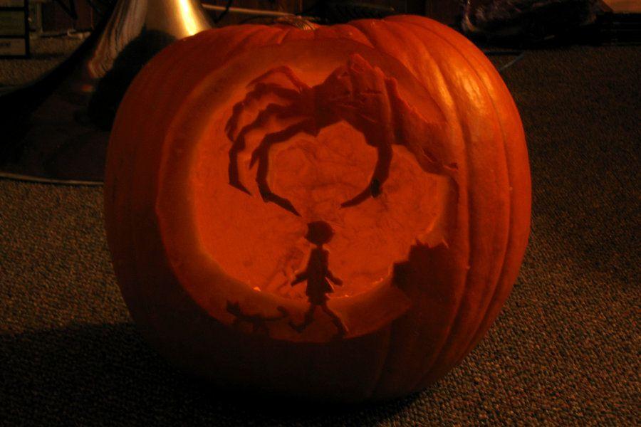 Coraline Pumpkin By Stephiet On Deviantart Halloween Pumpkins Painted Pumkin Carving Creative Pumpkin Carving