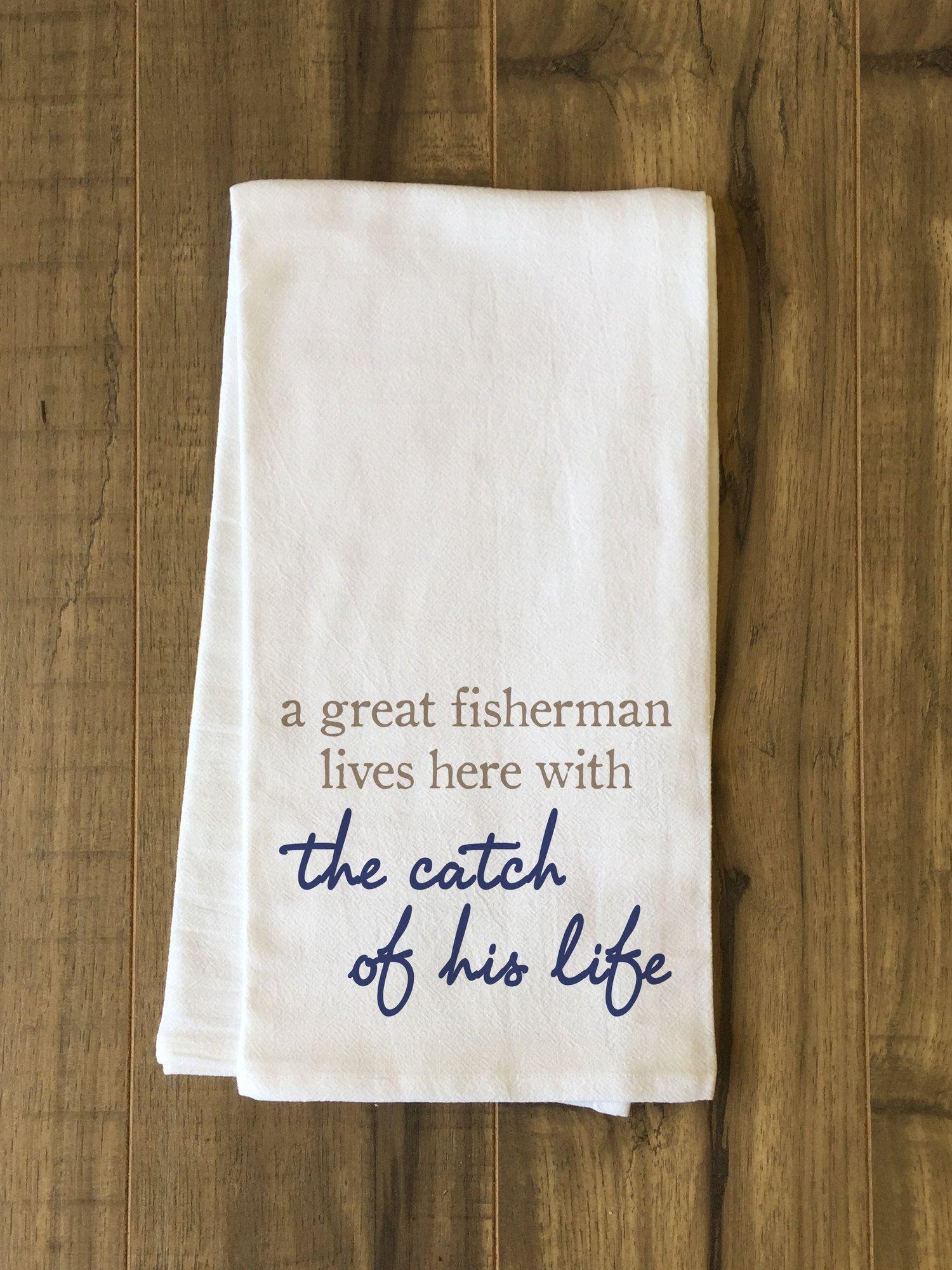 Fisherman Catch Of Life Tea Towel Embroidery Ideas Tea Towels