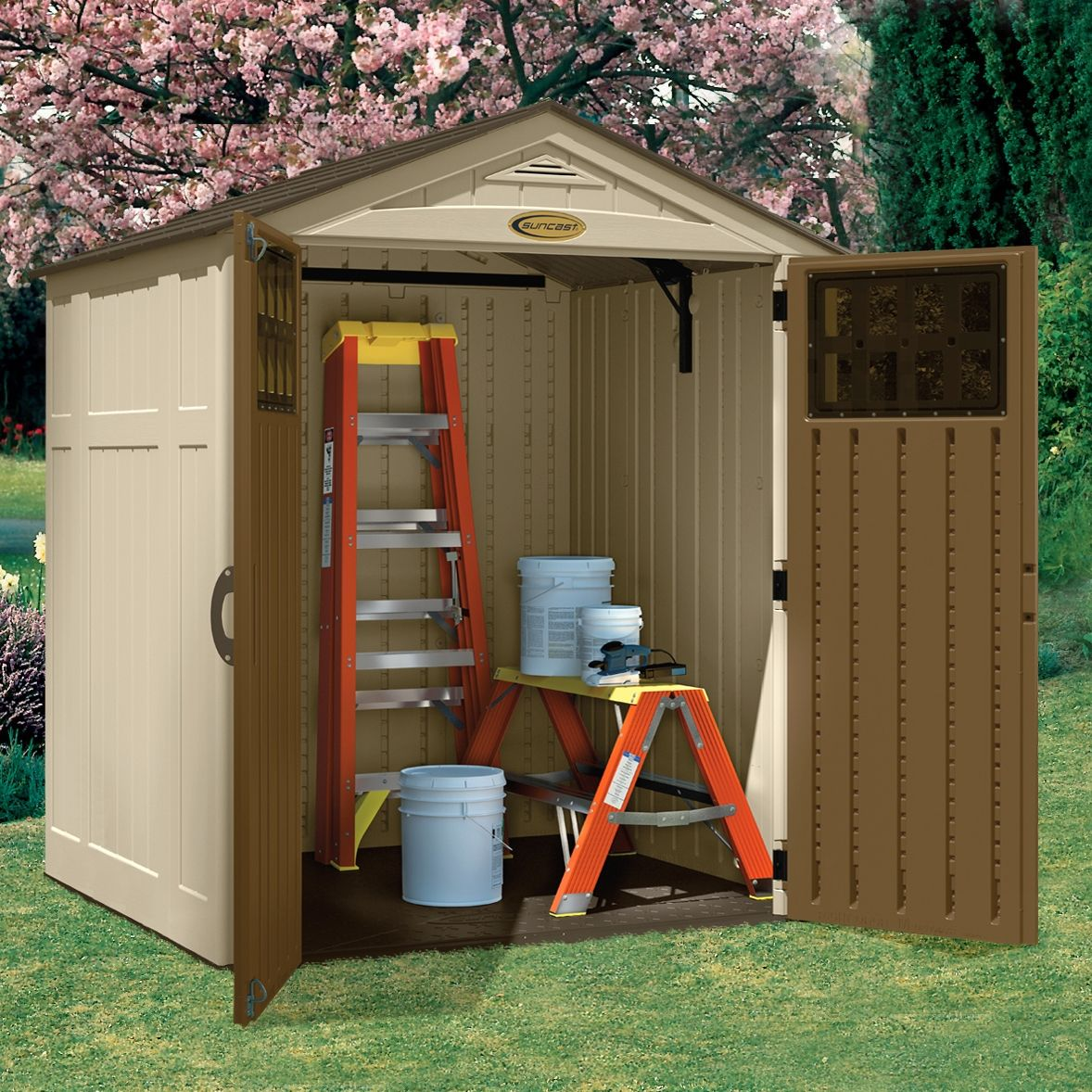 Suncast Everett 6 X 5 Ft Shed Shed Plastic Sheds Apex Roof