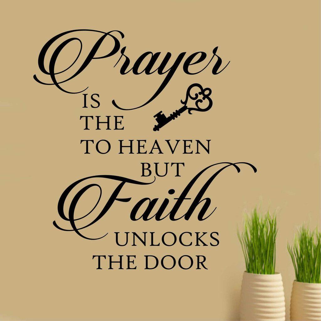 Prayer is Key Faith Unlocks | Vinyl Wall Lettering | Religious Decal ...