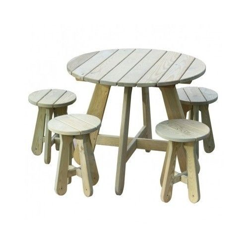 Picnic Table and Chairs Outdoor Wooden 4 Seater Dining Stool Garden ...