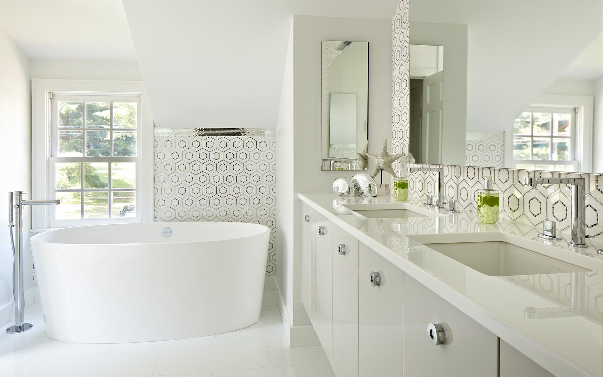 so lovely! oval tub, mod faucet, tile with sparkle, floating vanity ...