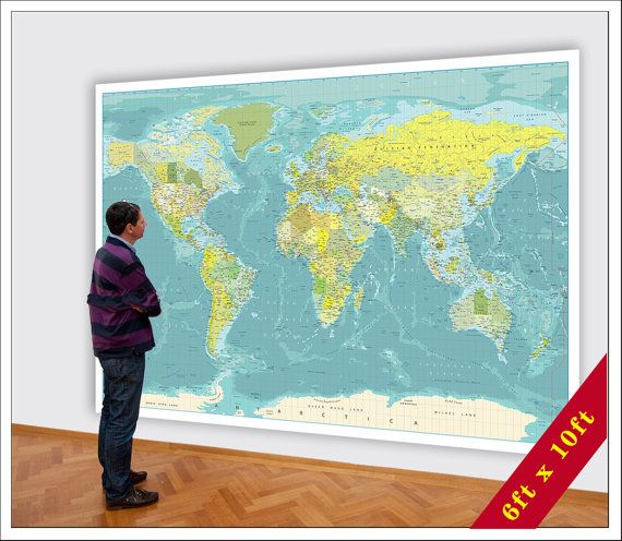 Big World Map. Huge Map of the World. 6xft x 10ft map. Large World on zoom in map, zoom map of asia, australia map zoomed in on a map of world, colormap of the world, zoomed map of russia in world, zoom world map with countries, zoom map usa, michelin map the world, back of the world, zoom map of europe, labels of the world, zoom map of israel, zoom map of africa,