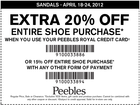 Peebles 15 20 Off Shoes Printable Coupon Save 15 Off Shoe Purchase Or 20 Off With The Store Credit Card Printable Coupons Clothing Coupons Coupons