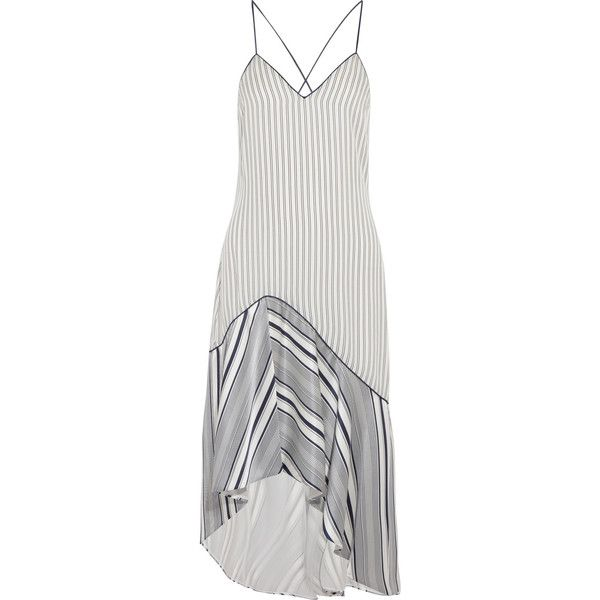 Jonathan Simkhai Asymmetric striped silk crepe de chine dress (9.175 NOK) ❤ liked on Polyvore featuring dresses, white, hi low dress, silk dress, white strappy dress, white dress and strappy dress