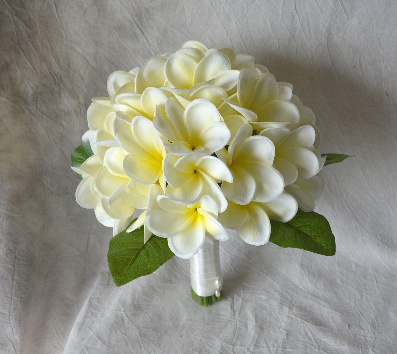 Real Touch Tropical Plumeria Bouquet Ivory Yellow Center Plumerias
