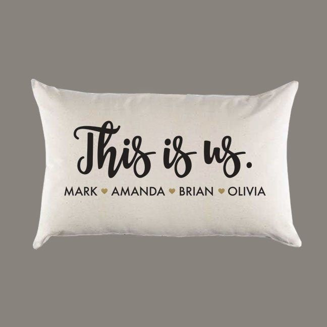 This Is Us Family Names Personalized Custom Canvas Pillow or Pillow Cover - Throw Pillow Home Decor -Gift - Lumbar - Farmhouse Decor