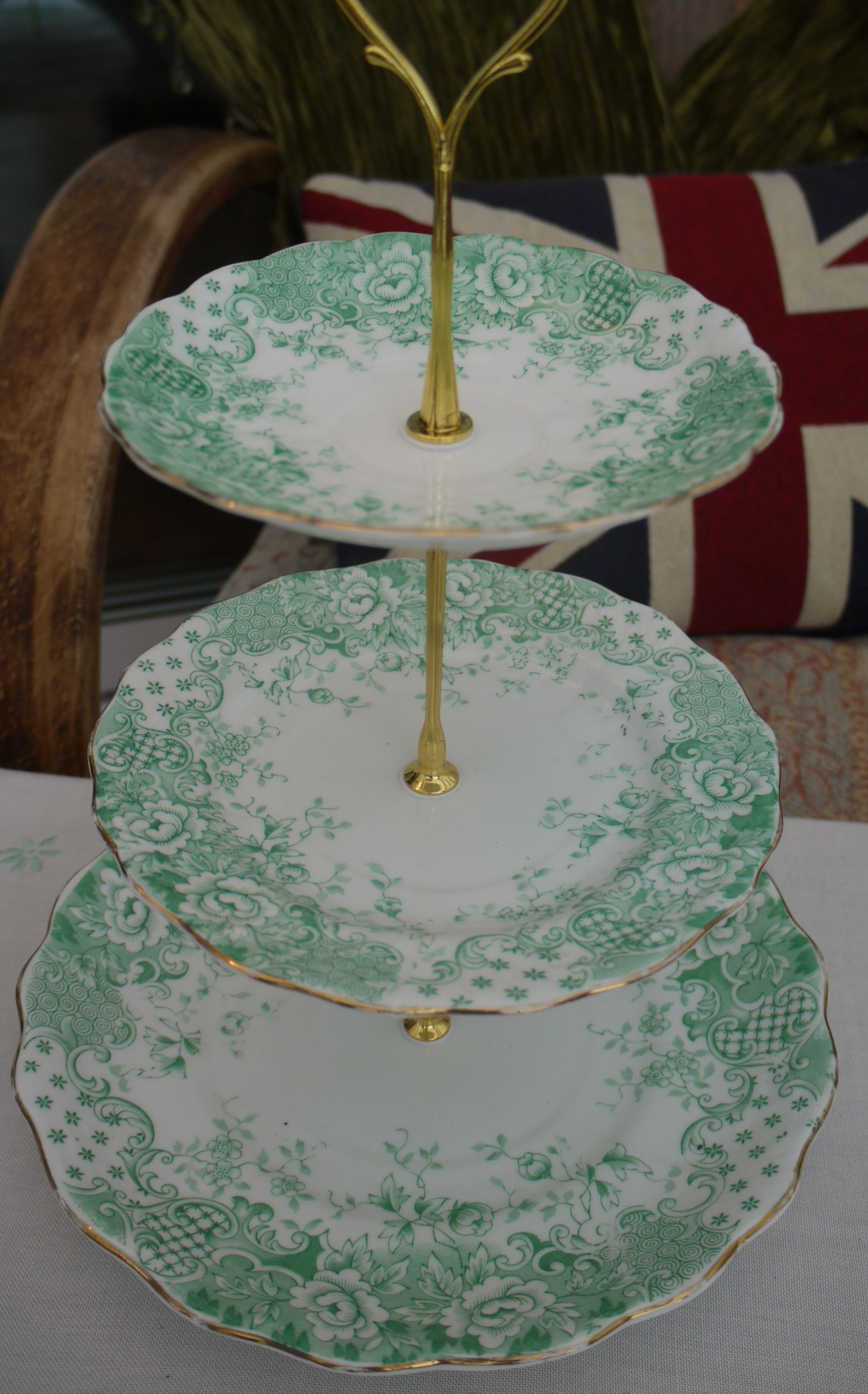3 tier cake stand in green and white with images