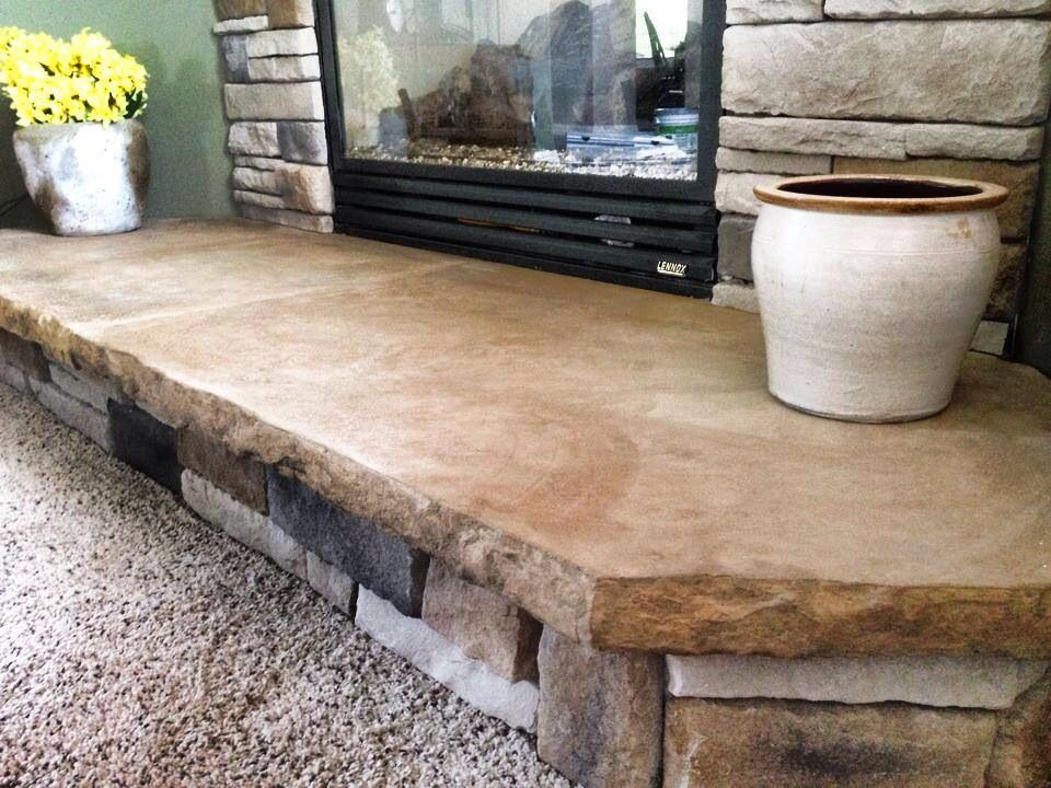 Custom Concrete Hearth Made To Look Like Sandstone By Www Readyiirock Com Craftsman Fireplace Fireplace Hearth Wooden Fireplace